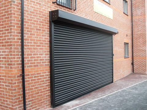 Black powdered shop front shutter