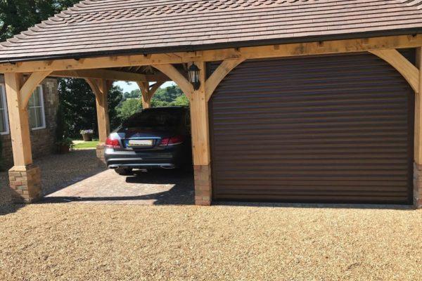 roller garage door in brown