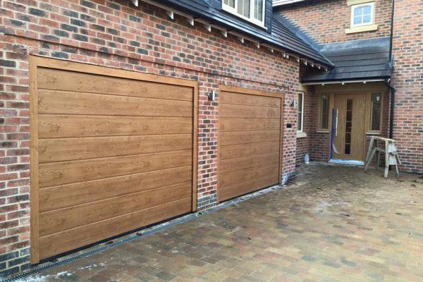 golden oak sectional garage door