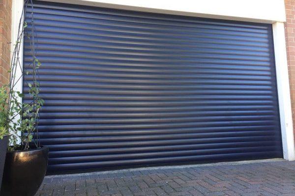 insulated roller garage door in black